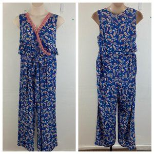 Westport Blue Paisley Wrap Sleeveless  Jumpsuit